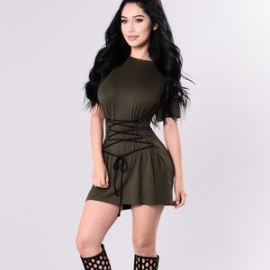 Olive T-Shirt dress 😍 with lace up ☺️